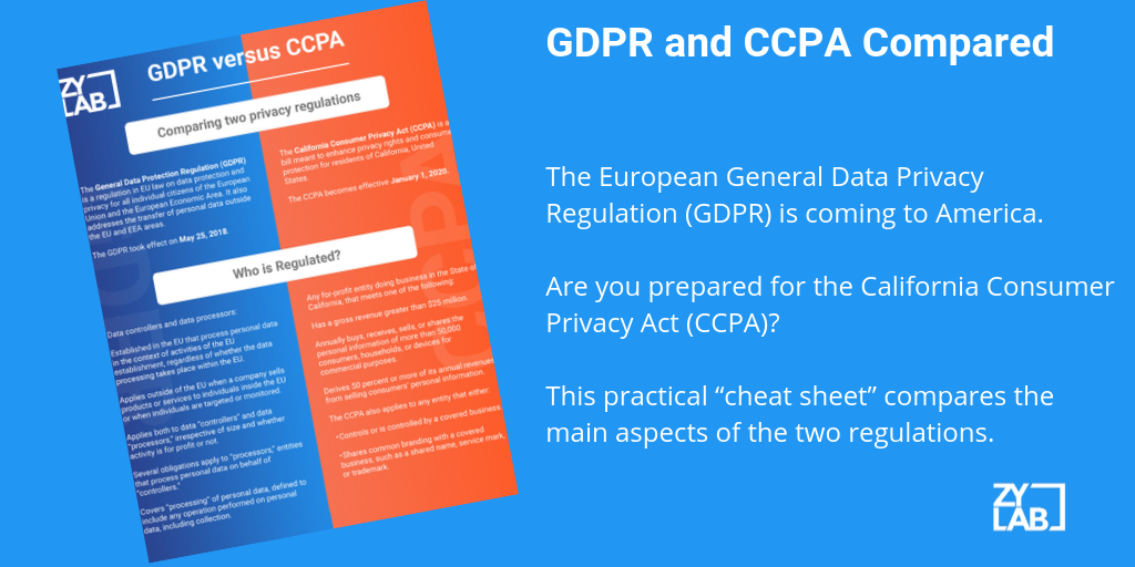 GDPR and CCPA Compared - Cheat Sheet From ZyLAB eDiscovery platform