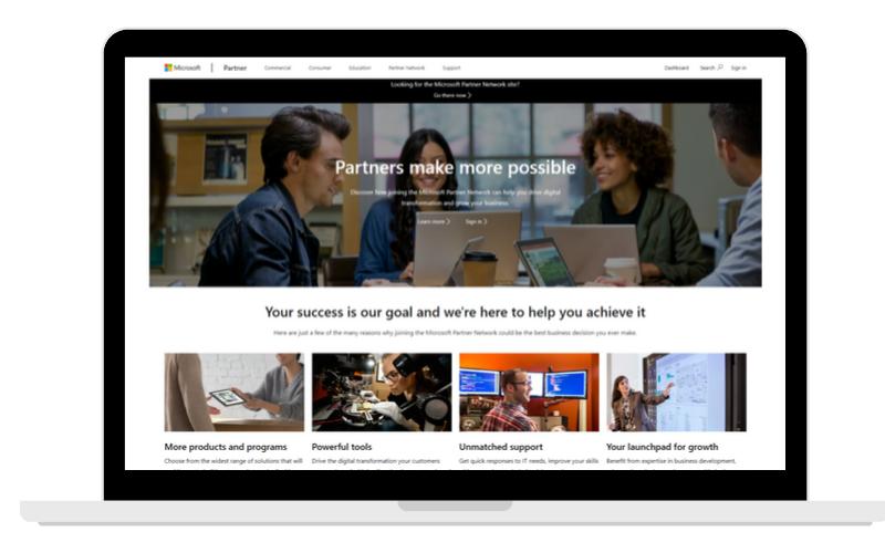 Screenshots Partner Page Microsoft