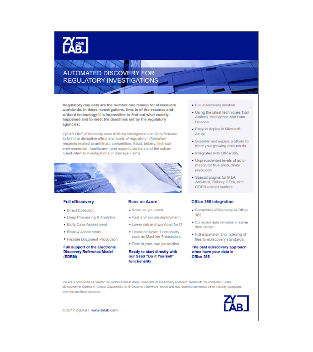 automated ediscovery for regulatory requests